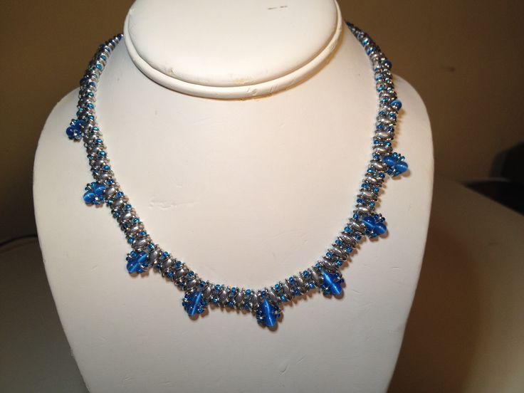 Here is the matching Superduo necklace with 4mm beads dangle / $25 manoncreativemoments@gmail.com