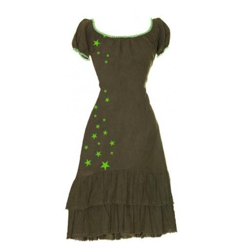 Carmen Star - Olive    Kjolen er udført i en smuk hamp/tencel,somminder lidt om hør, men som er glattere og falder smukkere og tungere.Den har mange fine detaljer som kanter af småprikket bånd ved udskæring og ærmer og håndprintede stjerner. Flæserne har helt rå kanter med en lille, grøn stikning.Kjolengår til lige under knæet og har en fantastisk pasform. Snører i ryggen gør taljen fleksibel og giver kroppen et smukt svaj.