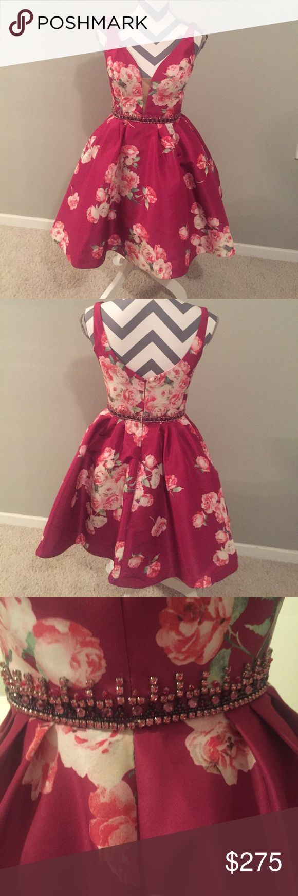 Short V-Neck Print Dress Sherri Hill Dress Fuchsia with pink and white roses, studded belt attached to dress  Will negotiate on price Sherri Hill Dresses Prom