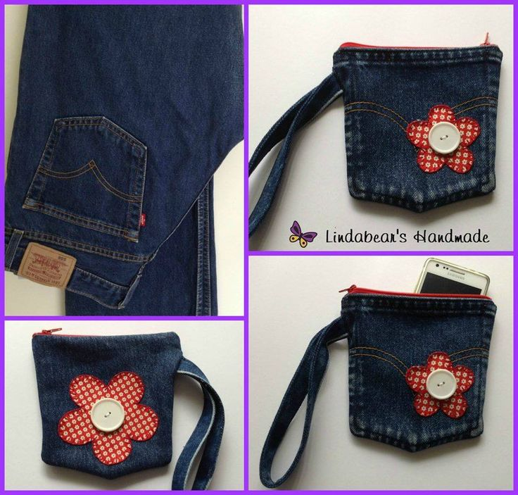 Handmade by Lindabears Handmade Upcycled Denim Wristlet Purse with Appliqued Flowers For more information, please visit www.facebook.com/HandmadeMarkets