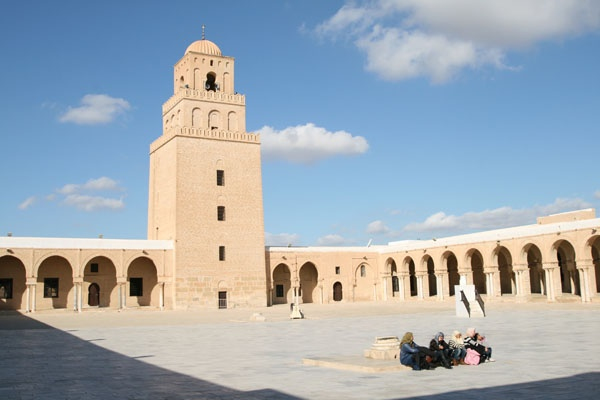 Kairouan Great Mosque. Built in 836 in Kairouan, Tunisia. It has a large prayer hall, a dome, an arcaded courtyard and a three story tower believed to be the oldest standing minaret in the world.