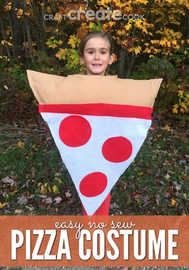 This Easy No Sew Kids Pizza Costume is perfect for Halloween and kids of all ages!