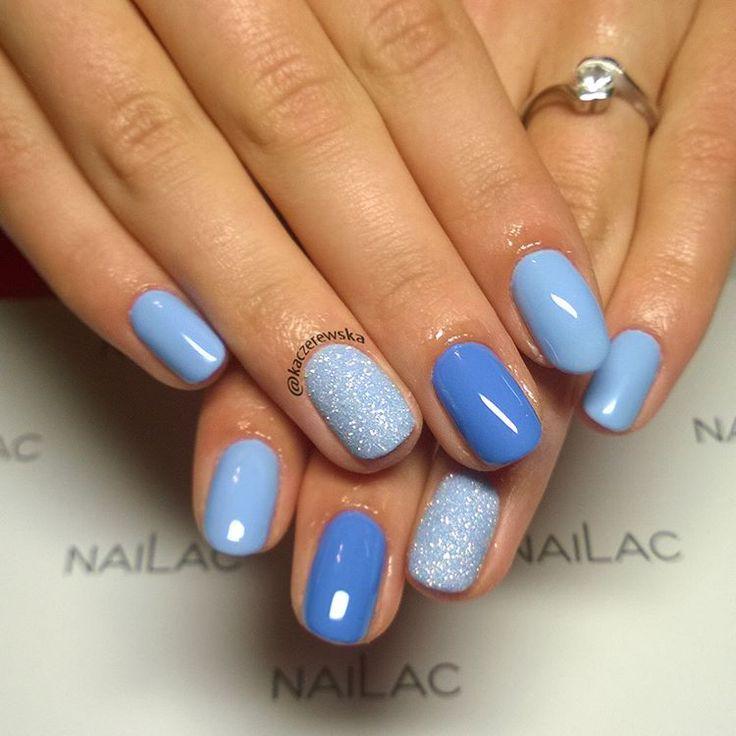 25 Instagram Foto Von Ania Kaczerewska Blue Nails Anzeigen Blue Gel Nails Blue Shellac Nails Blue Nails