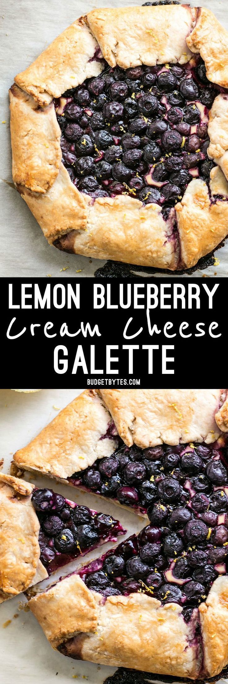 This Lemon Blueberry Cream Cheese Galette is a simple and rustic dessert that can be made with frozen or fresh berries. @budgetbytes