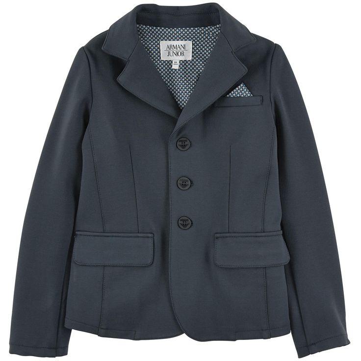 Armani Junior  Veste de blazer en jersey viscose bleu marine