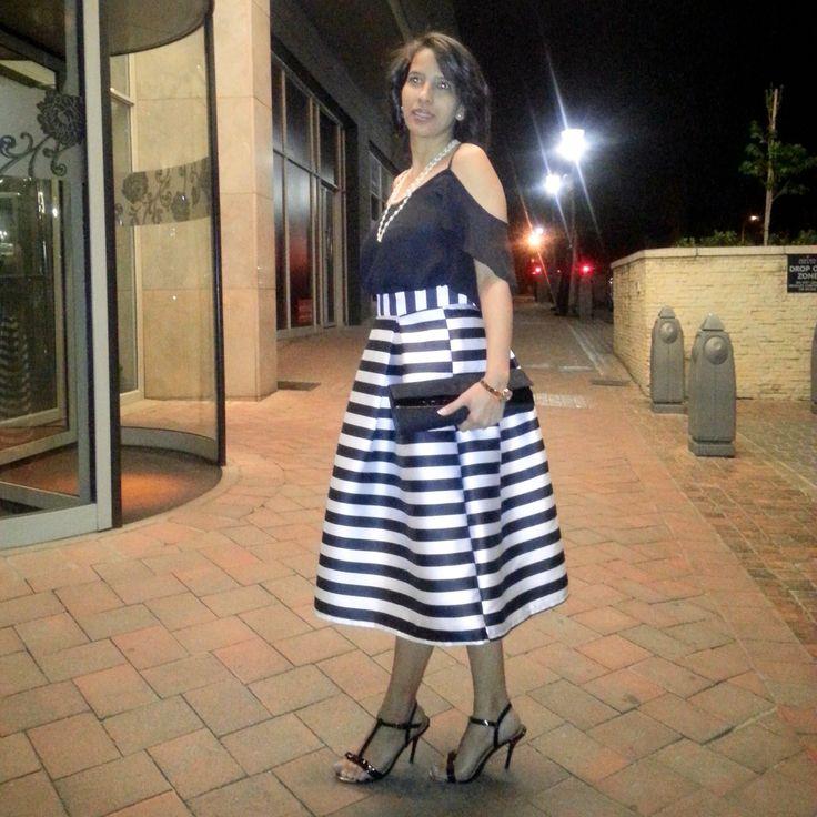 B&W Striped Midi Skirt - Lauré Eleganze