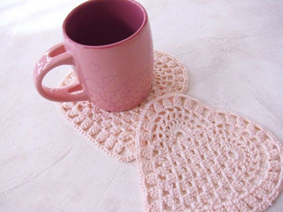 2 cotton lace coasters pink color heart shape by NeedlesOfSvetlana