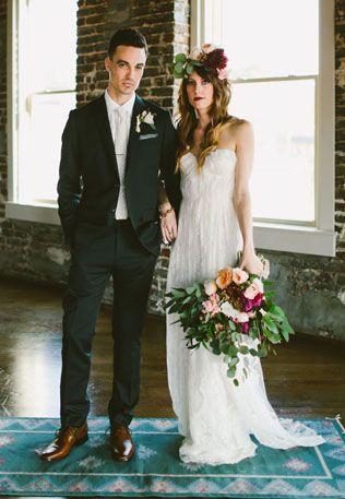 Изысканная простота: свадьба в стиле лофт, жених и невеста - The-wedding.ru
