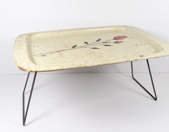 Vintage Metal Tv Tray Breakfast In Bed Tv Dinner Atomic Midcentury Tray Breakfast Lap Tray Metal Tv Trays Vintage Trays Breakfast In Bed