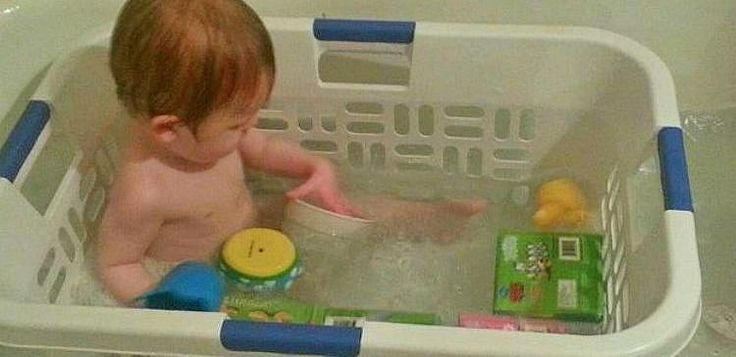 Tub Caddy ... Prevent bath time toys from getting away from your little one by using a laundry basket in the tub.