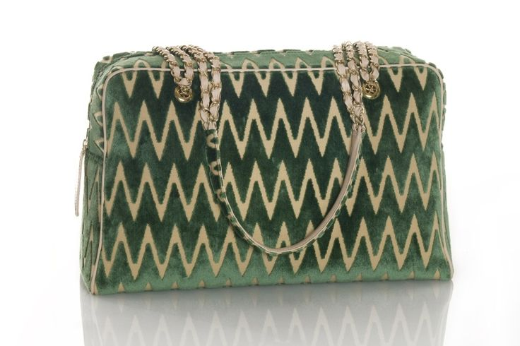 """PUPARIN bag made of jacquard """"Zig-Zag"""" velvet, leather and metal shoulder strap. Wide zippered with two wide pockets inside. Design and concept @ Chiara Pizzinato Atelier"""