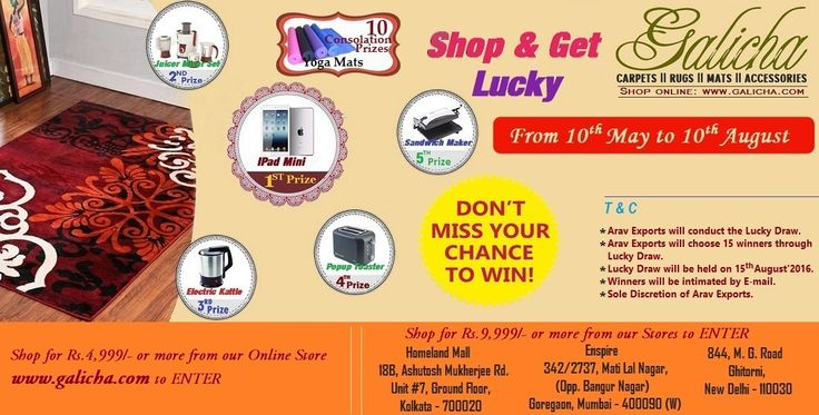 On the occasion of #AkshayaTritiya, we have brought a great #LuckyDraw Offer for you. #Carpets #Rugs #AreaRugs #ShaggyCarpets #Wall to Wall Carpets #Customized Carpets #Mats
