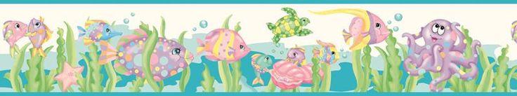 Brewster Wallpaper GIR94191B Arielle Cream Ocean Fish Border