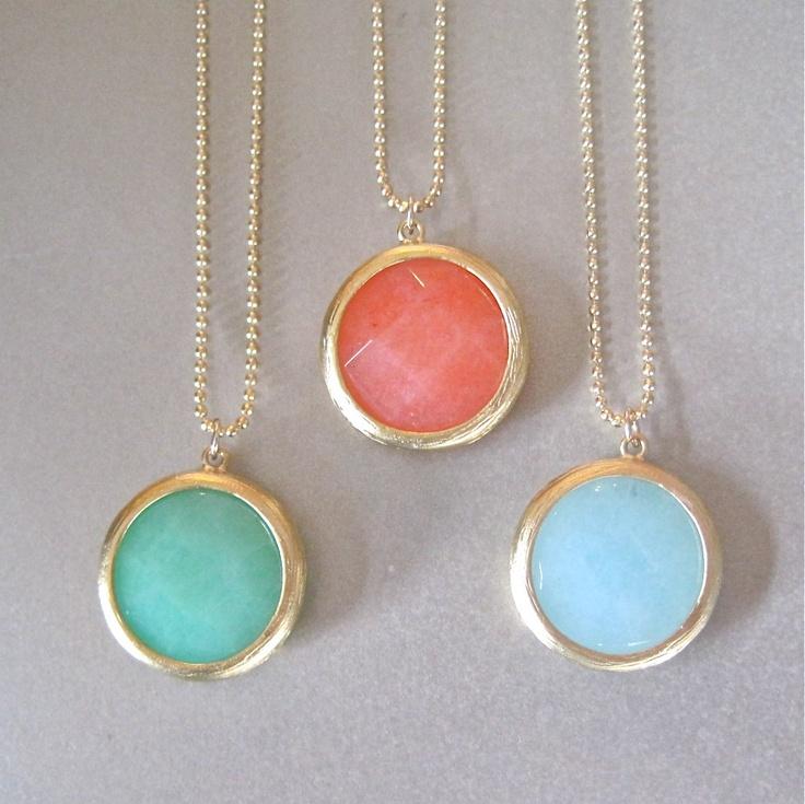 Round Gold Chalcedony Necklace. $39.00, via Etsy.