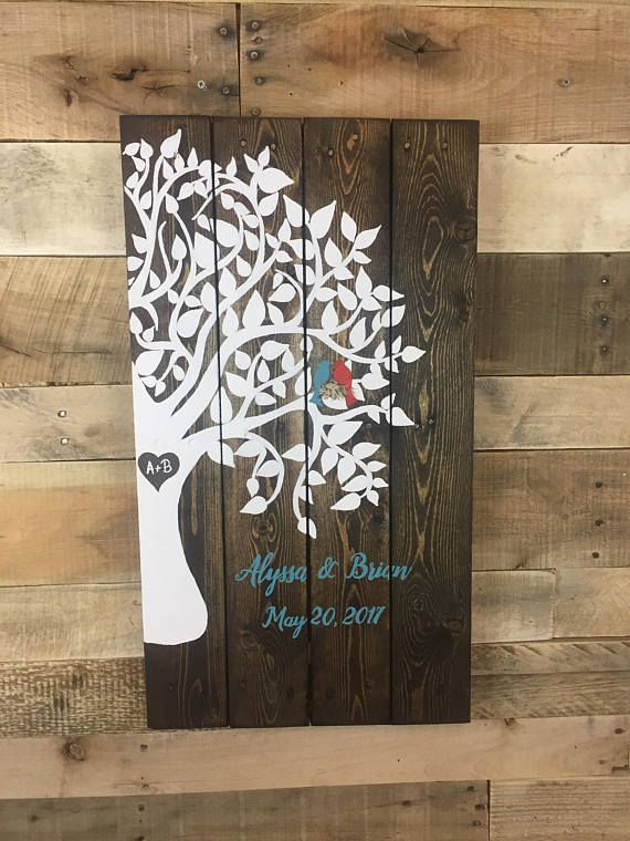 Wooden Recycled Pallet Family Tree Sign Wedding Anniversary Gift