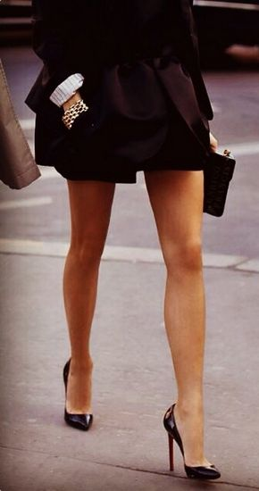 City Street style: chic little black dress and Christian Louboutin high heel pumps