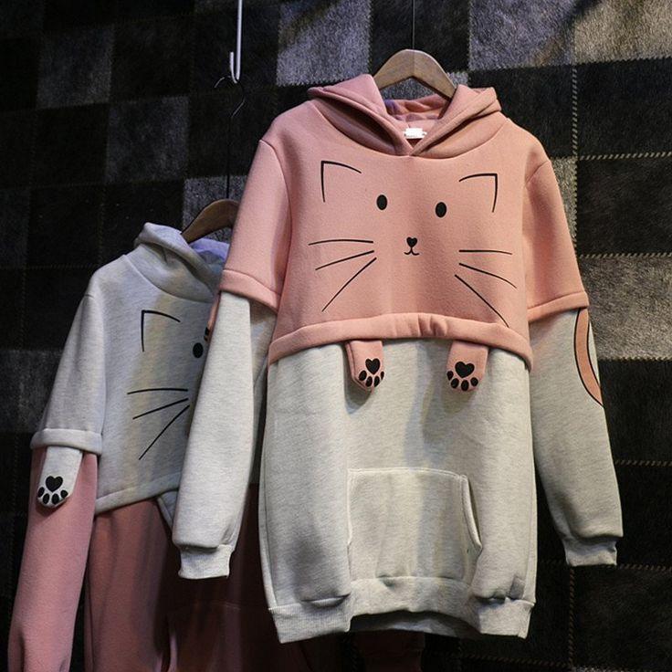"Cute cat hooded fleece pullover SE9232   Coupon code ""cutekawaii"" for 10% off"