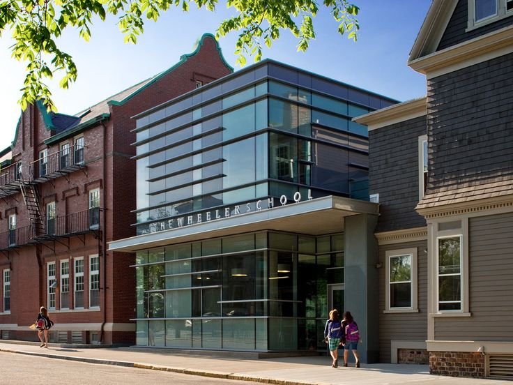 Built by Ann Beha Architects in Providence, United States with date 2009. Images by David Lamb Photography. This small Student Center is a hub and hinge for The Wheeler School's urban campus in Providence, RI. The campus is c...