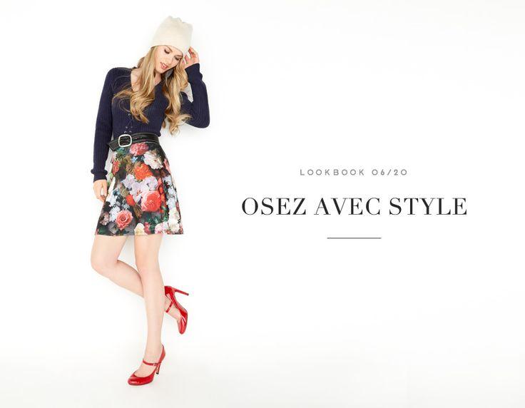 OSEZ AVEC STYLE // JUST MIX IT #sweater #knit #knitwear #fleurs #floral #skirt #pattern #motif #navy #red #automne #chic #jupe #fall #winter #mode #glam #fashion #femme #women #lookbook #fw16