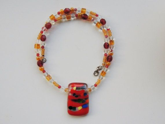 fused glass necklace rectangle beaded glass by Homeforglasslovers, $28.50