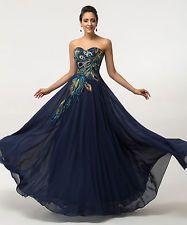 Gr 32-54 Vintage Pfau Brautjungfernkleid Hochzeitkleid Abendkleid Ballkleider GK