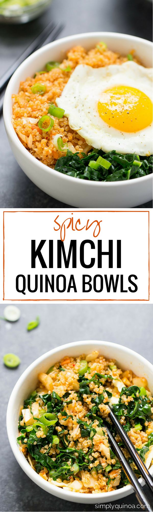 Spicy Kimchi Quinoa Bowls - A gluten-free dish that's filled with bacteria that's good for your gut!