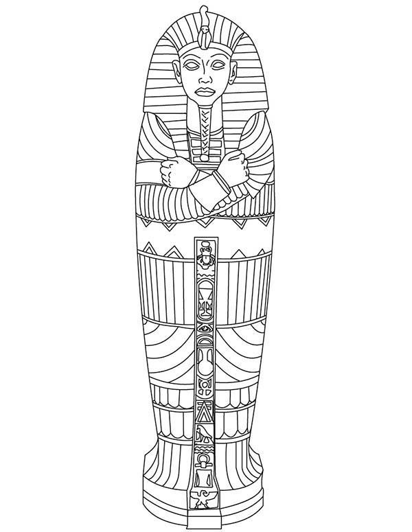 King Tut Gold Sarcophagus of Ancient Egypt Coloring Page ...