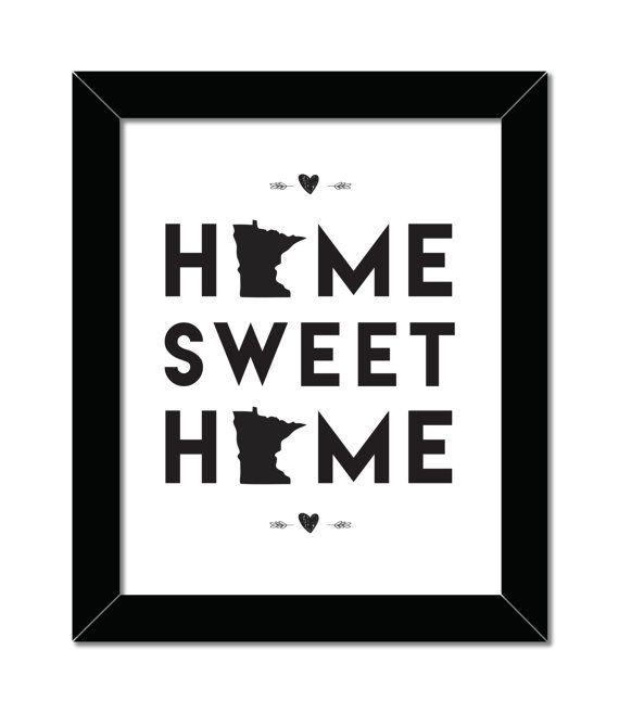 Home Sweet Home   Midwest Print   Minnesota Love   8x10   Home Decor   Instant Download