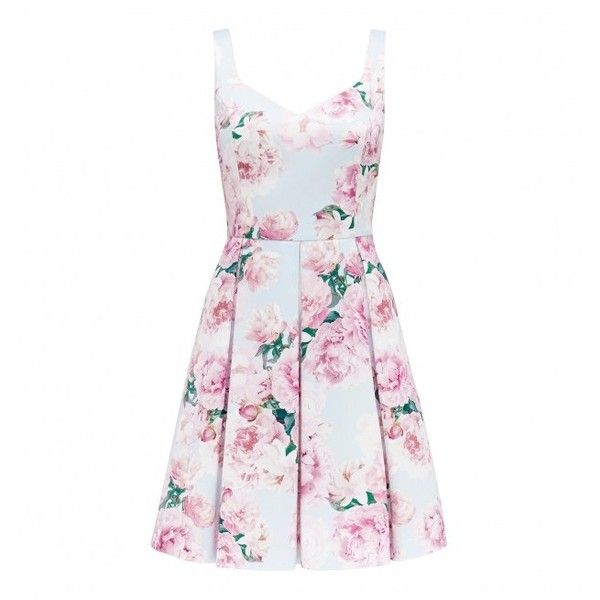 Forever New Nina Floral Print Prom Dress (€66) ❤ liked on Polyvore featuring dresses, flower pattern dress, rib cage dress, floral pattern dress, white floral dress and forever new