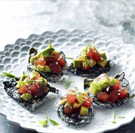 Natural Raw C - Chef Pete Evan - Tuna tartare with avocado on crispy nori with sesame