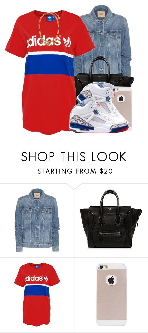 """Glamorous- Fergie"" by polyvoreitems5 ❤ liked on Polyvore featuring Paige Denim, CÉLINE, adidas Originals and Versace"