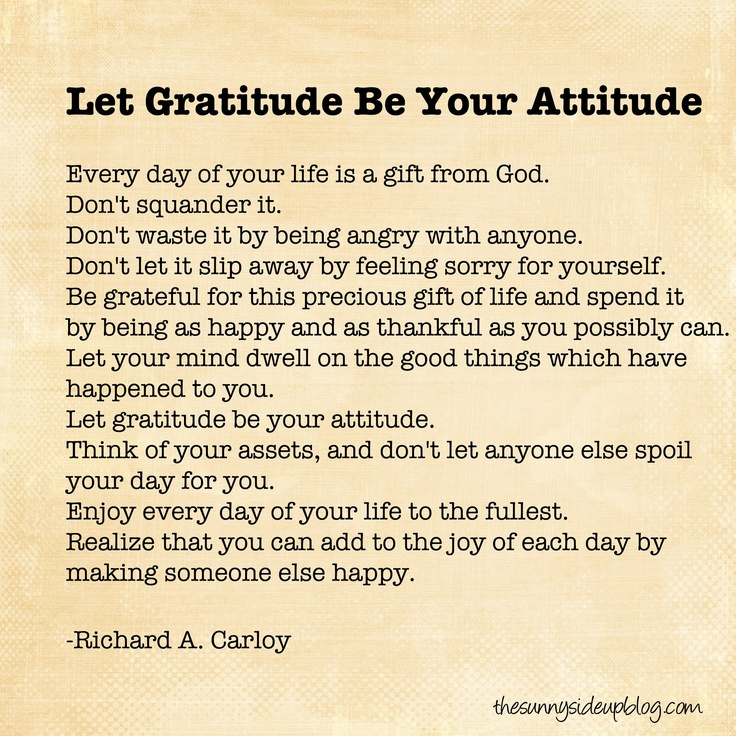 Let Gratitude Be Your Attitude