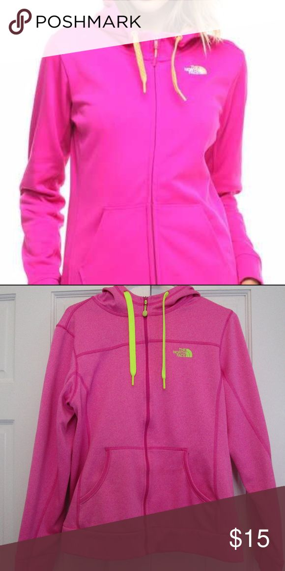 The North Face Bright Pink Zip up Hoodie Like New The North Face Zip up hoodie with safety green/yellow drawstrings Size Large The North Face Tops Sweatshirts & Hoodies