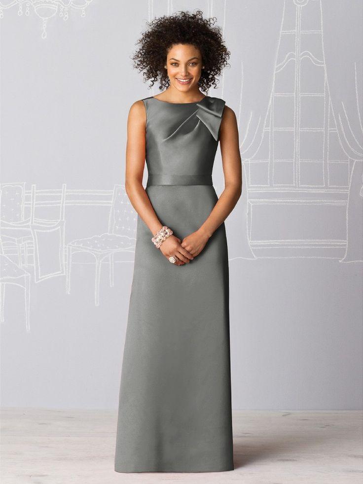 Charcoal Grey Full Length Bridesmaid Dress