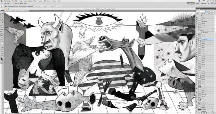 Un dessinateur a repris «Guernica» de Picasso pour illustrer la guerre en Syrie