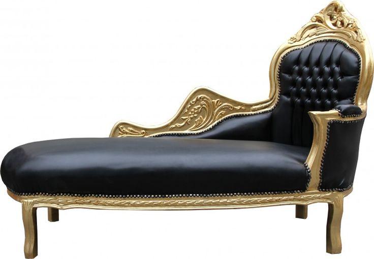 Casa Padrino Barock Chaiselongue Mod2 Schwarz/Gold Lederoptik- Barock Möbel  – Bild 1
