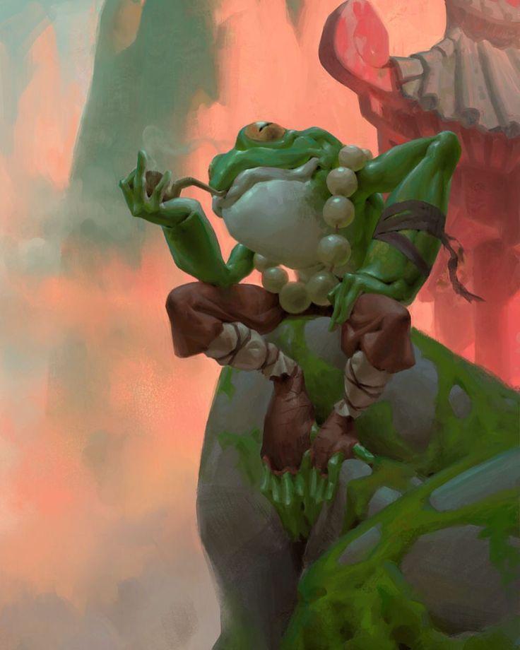 Мудрая Лягушка. Фрилансер художник: Квентин де Уоррен. #искусство живопись #рисунок #лягушка #дым #классно #зеленый #conceptart