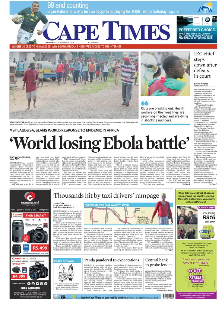 News making headlines:  World losing Ebola battle