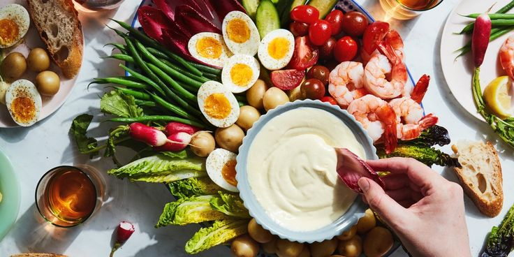 This classic French dish is summer dining at its finest: no utensils required, and it pairs very well with chilled rosé. Of course, you can serve your aioli with any vegetables or seafood you like—consider this a good starting point.