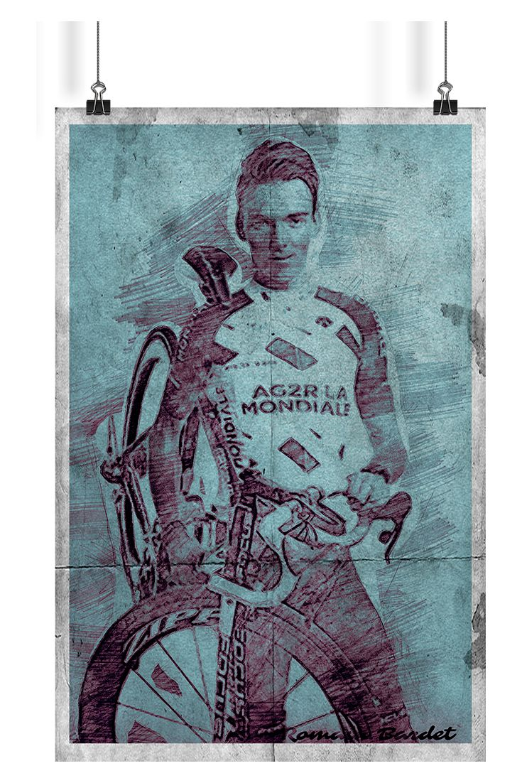 """The motif is inspired by one of the most promising French rider - Romain Bardet. Bardet is known for agressive climbing that has helped him achieve top ten in Tour de France's GC three times in a row. He is also a holder of Tour's combativity awards. Composition and style of picture using techniques of """"aux deux crayons"""" and hatching."""
