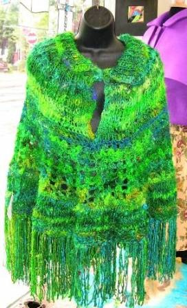 Hand Knit Sari Silk Poncho