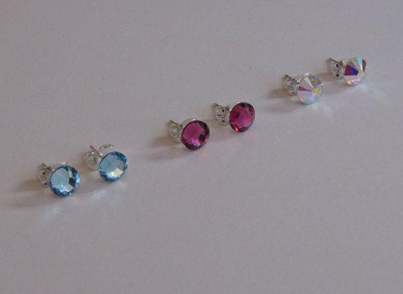 6mm Swarovski Crystal Studs by RosemarysJewellery on Etsy