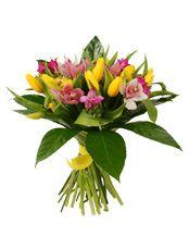 ВСТРЕЧА  Лёгкий и радостный букет для самых приятных мгновений. Перелив ярких красок и буря эмоций. Жёлтые тюльпаны как солнечные зайчики, нежная орхидея и ароматная фрезия в объятиях листьев аралии — весенняя сказка для любимых.