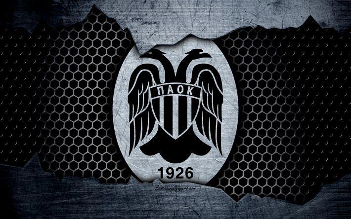 Download wallpapers PAOK, 4k, logo, Greek Super League, soccer, football club, Greece, grunge, metal texture, PAOK FC