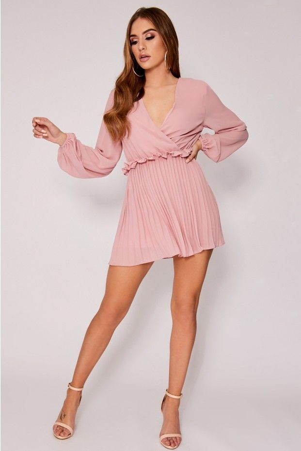 1dcfc09ababd8 Dani Dyer Dusty Pink Balloon Sleeve Pleated Mini Dress | In The Style