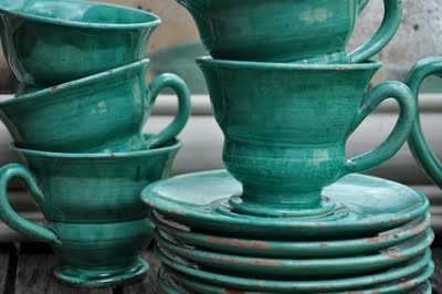 <3 Teal Cups and Saucers~Form...Beauty~<3