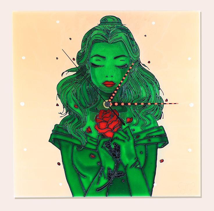 Jade Princess - Jáde hercegnő - Handmade - Handbemalte - kézzel festett üvegóra - 30x30