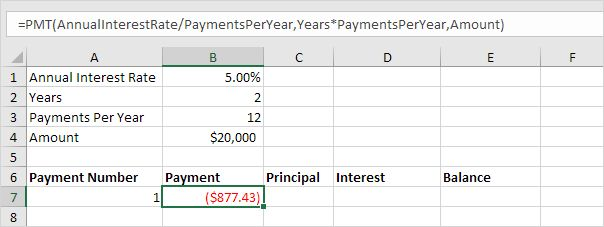 Loan Amortization Schedule in Excel – Easy Excel Tutorial #24 #hour #loans http://loan.remmont.com/loan-amortization-schedule-in-excel-easy-excel-tutorial-24-hour-loans/  #loan calculator formula # Loan Amortization Schedule This example teaches you how to create a loan amortization schedule in Excel . 1. We use the PMT function to calculate the monthly payment on a loan with an annual interest rate of 5%, a 2-year duration and a present value (amount borrowed) of $20,000. We have…The post…