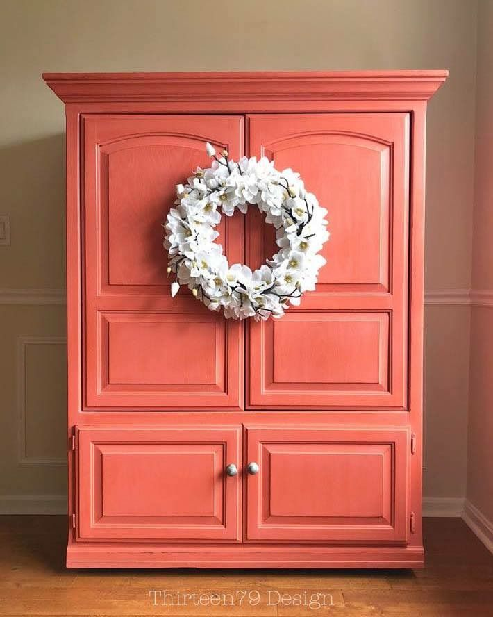 Coral Chalk Painted Armoire Reclaimed Painted Armoire Orange Painted Furniture Interior Decorating Inspiration