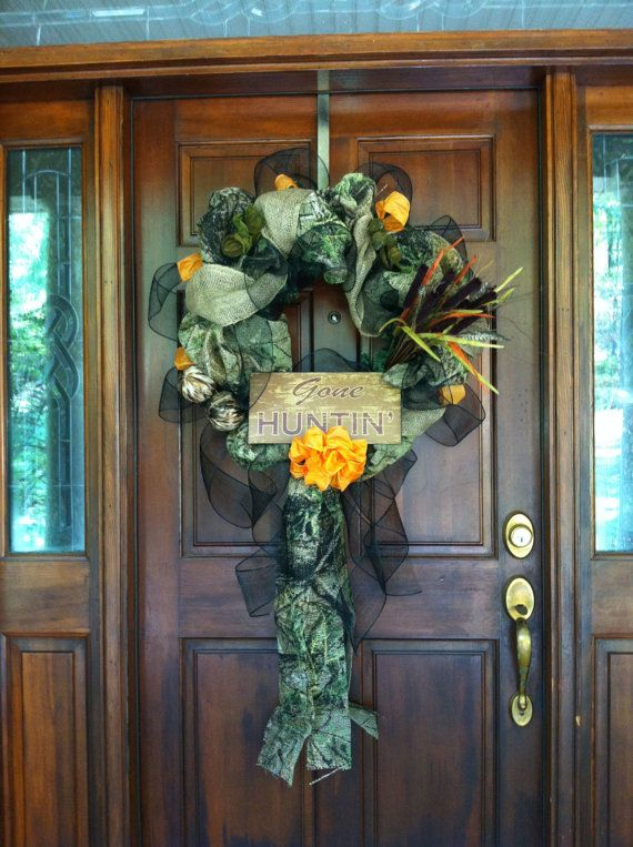 Gone Hunting camo burlap wreath..... So ordering.  I'm sure I'll get copied with this to since she loves all my ideas!